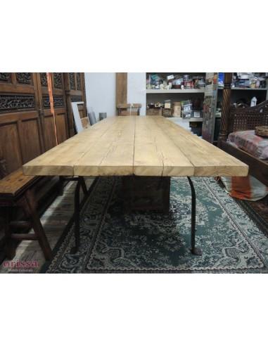 Tavolo assi legno massello gamba U