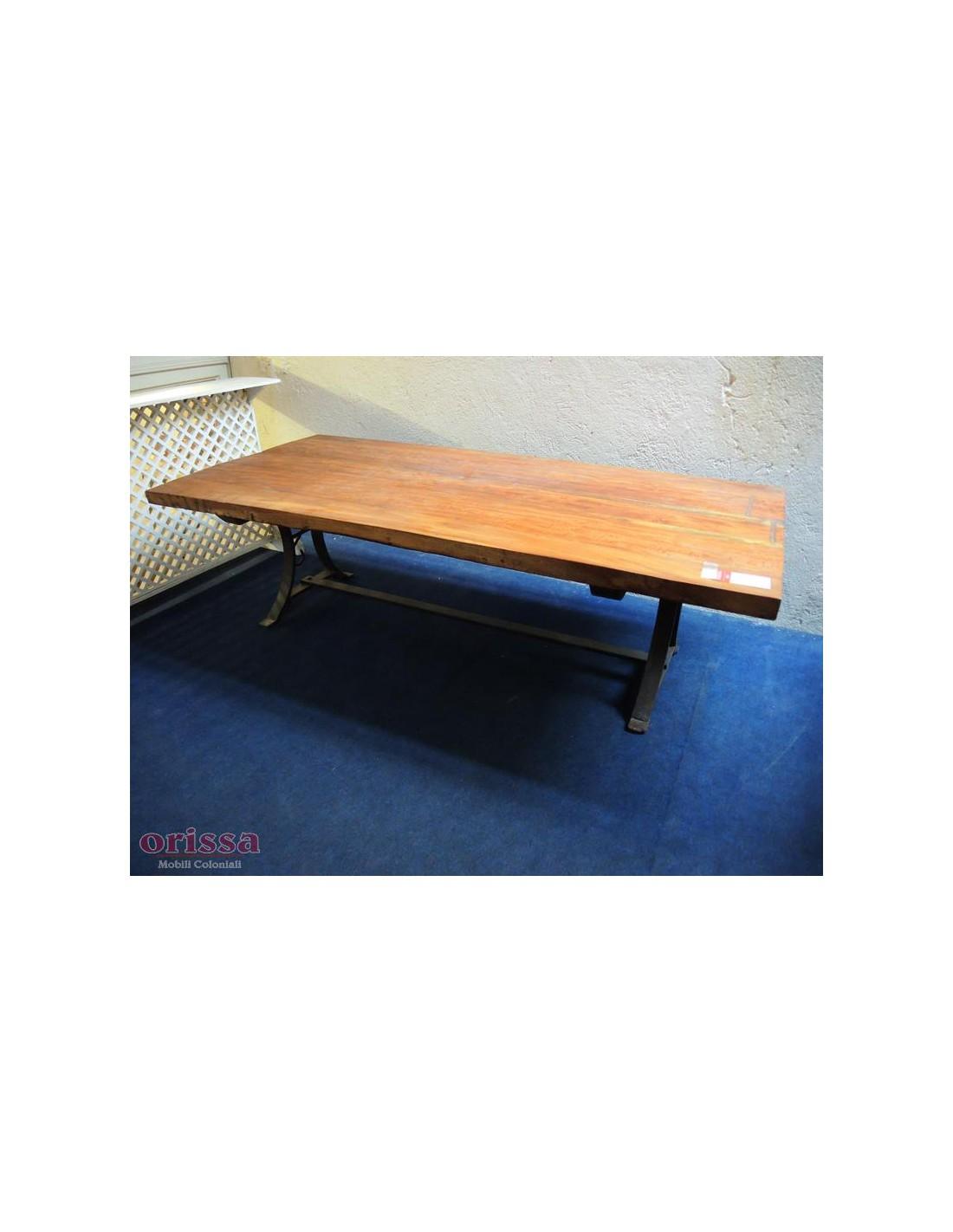 Tavolo salotto in legno e ferro cx032 orissa milano - Tavolo legno e ferro ...