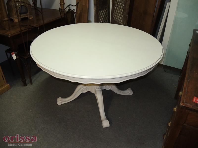 Tavolo tondo legno bianco allungabile CX035 - Orissa Milano