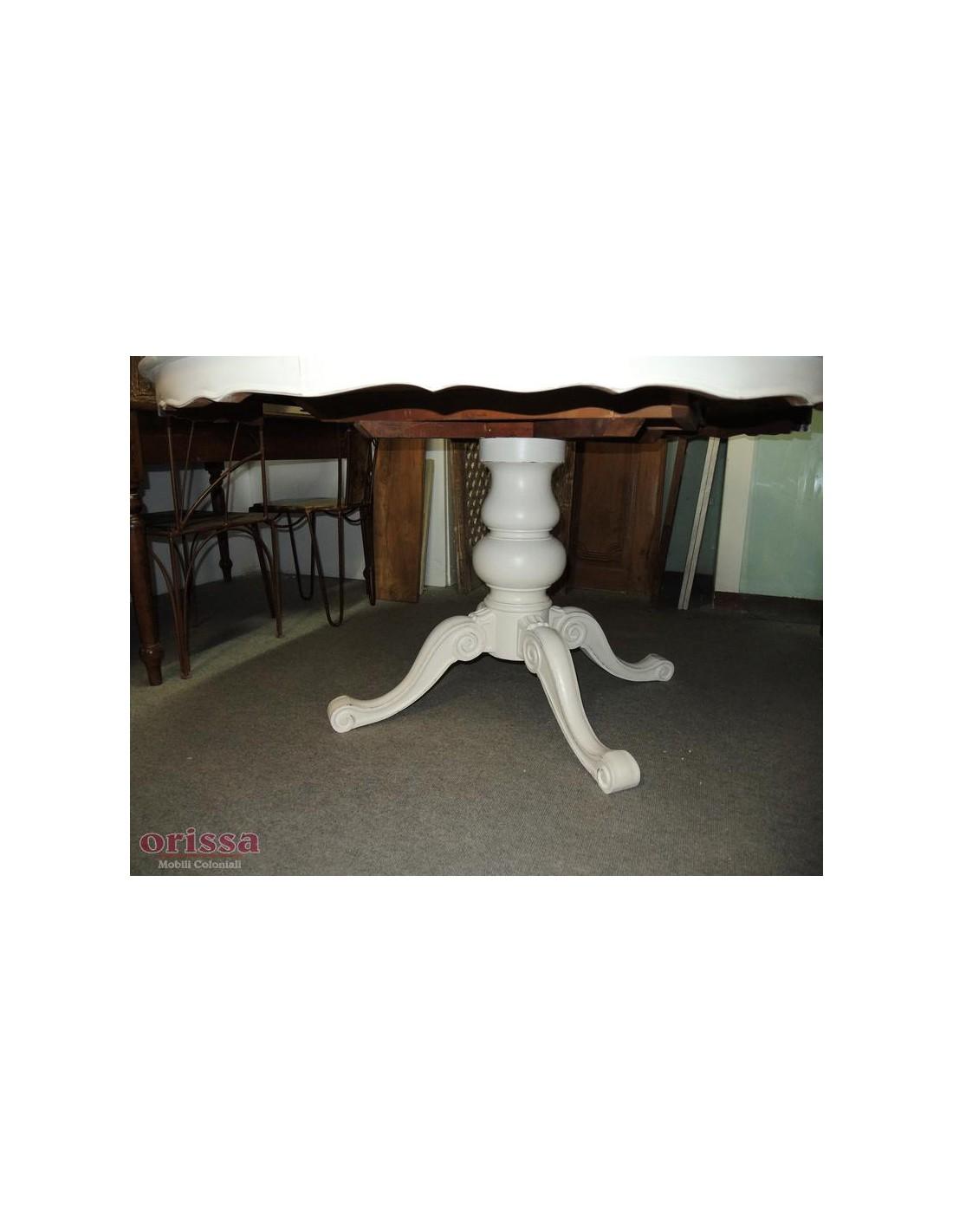 Tavolo tondo legno bianco allungabile cx035 orissa milano for Tavolo tondo bianco