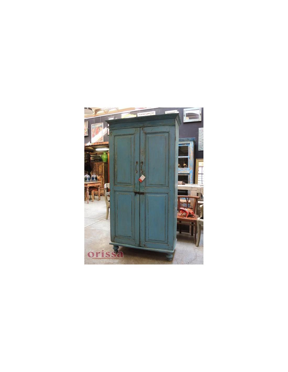 Armadio azzurro legno massello CX039 - Orissa Milano