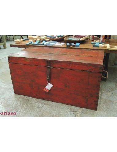 Baule legno massello colore rosso