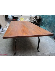 Tavolo legno massello gamba ferro