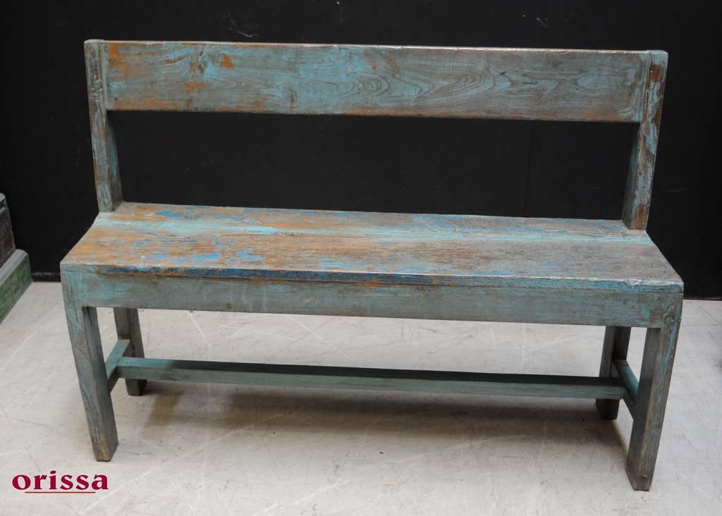 Panca legno massello shabby colore azzurro HL18 - Orissa Milano