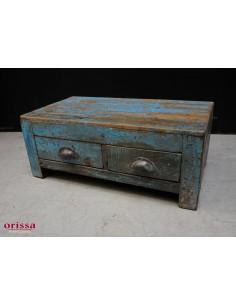 Tavolino con cassetti blu