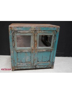 Vetrina azzurra shabby legno massello