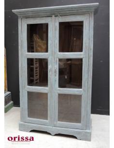 Vetrina legno massello azzurra stile shabby