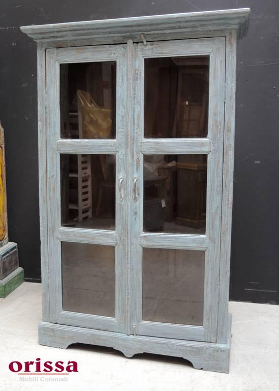 Vetrina legno massello azzurra stile shabby HL17 - Orissa Milano