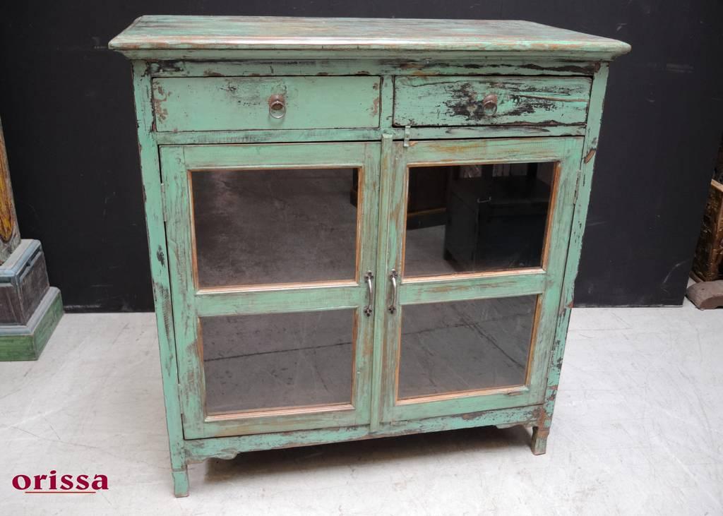 Credenza Con Ante In Vetro : Credenza verde con ante vetro hn orissa milano