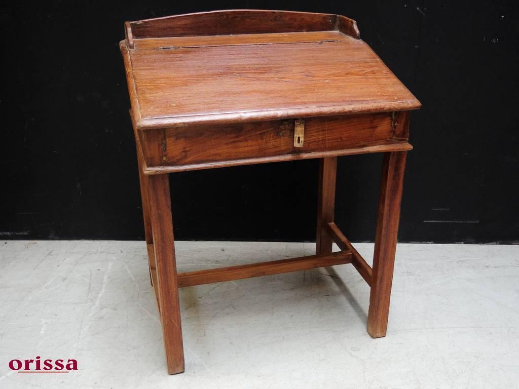 Piccola scrivania in legno di teak epoca coloniale indiana mn