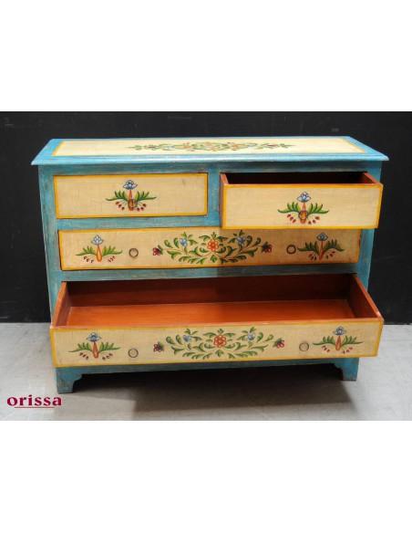 Cassettiera decorata colorata