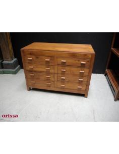 Cassettiera legno di teak coloniale 8 cassetti