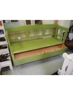 Panca con cassetto legno massello colore verde