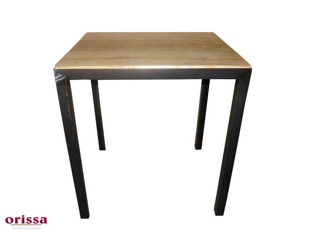 Tavolo Industriale Quadrato : Tavolo bistrot stile industrial legno e ferro orissa milano