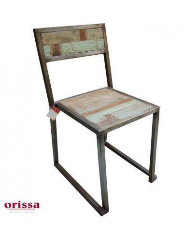 Sedie In Ferro E Legno.Sedia Industrial Ferro Battuto E Legno Recycled Colorato Orissa