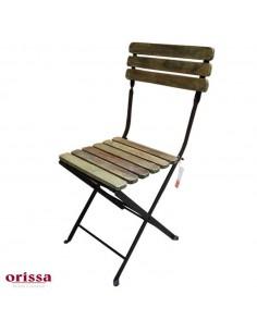Sedia pieghevole ferro legno recycled