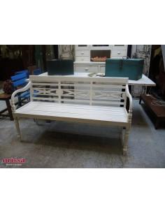 Banca in legno di teak bianco decapato