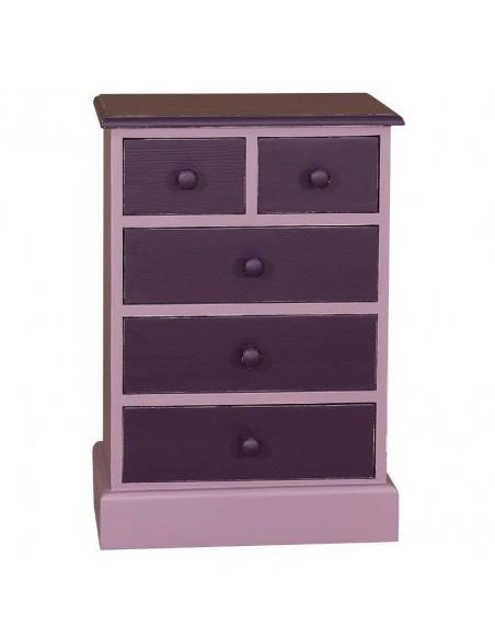 Comodino legno colorato a cassetti