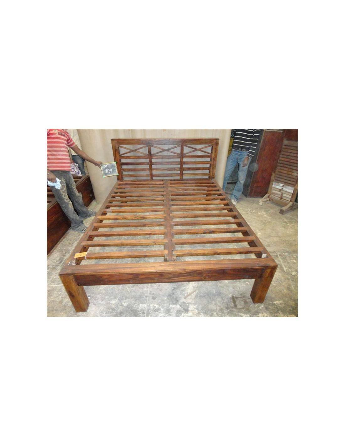 Letto in legno massello di sheesham con testata e doghe or134 orissa milano - Testata letto in legno ...