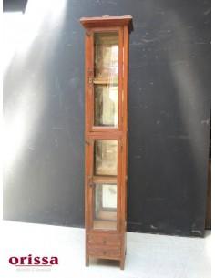 Vetrina a colonna coloniale in massello di teak