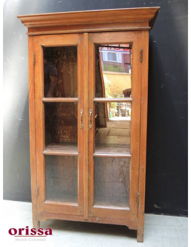 Vetrina coloniale in legno massello di teak