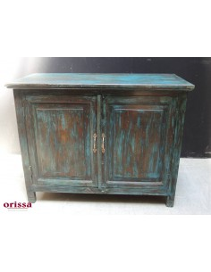 Credenza shabby colore petrolio massello di teak