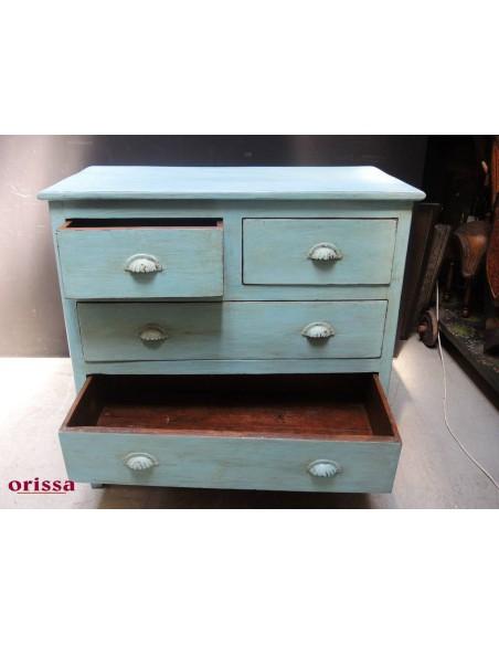 Cassettiera legno colore azzurro