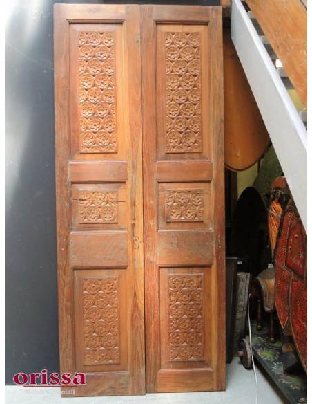 Ante porta intagliate in legno massello di teak