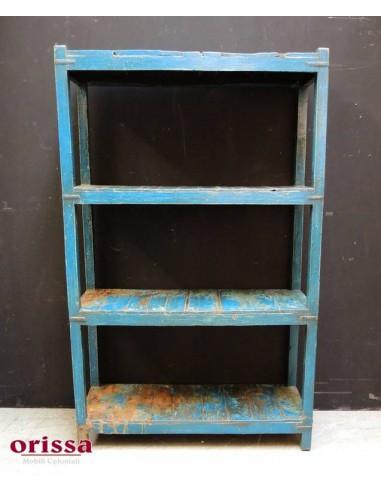 Scaffale in legno massello colore blu shabby
