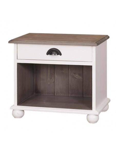 Comodino legno con cassetti e vano aperto