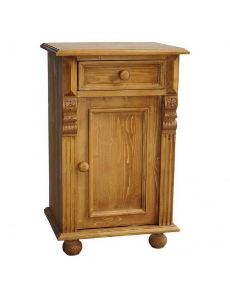 Comodino legno con antina e cassetto