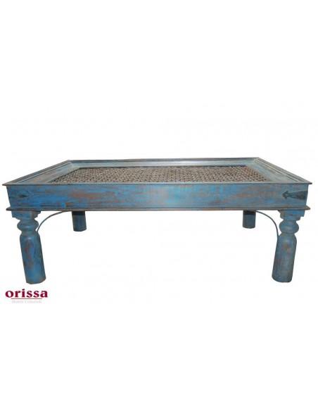 Tavolo etnico da salotto con grata in ferro