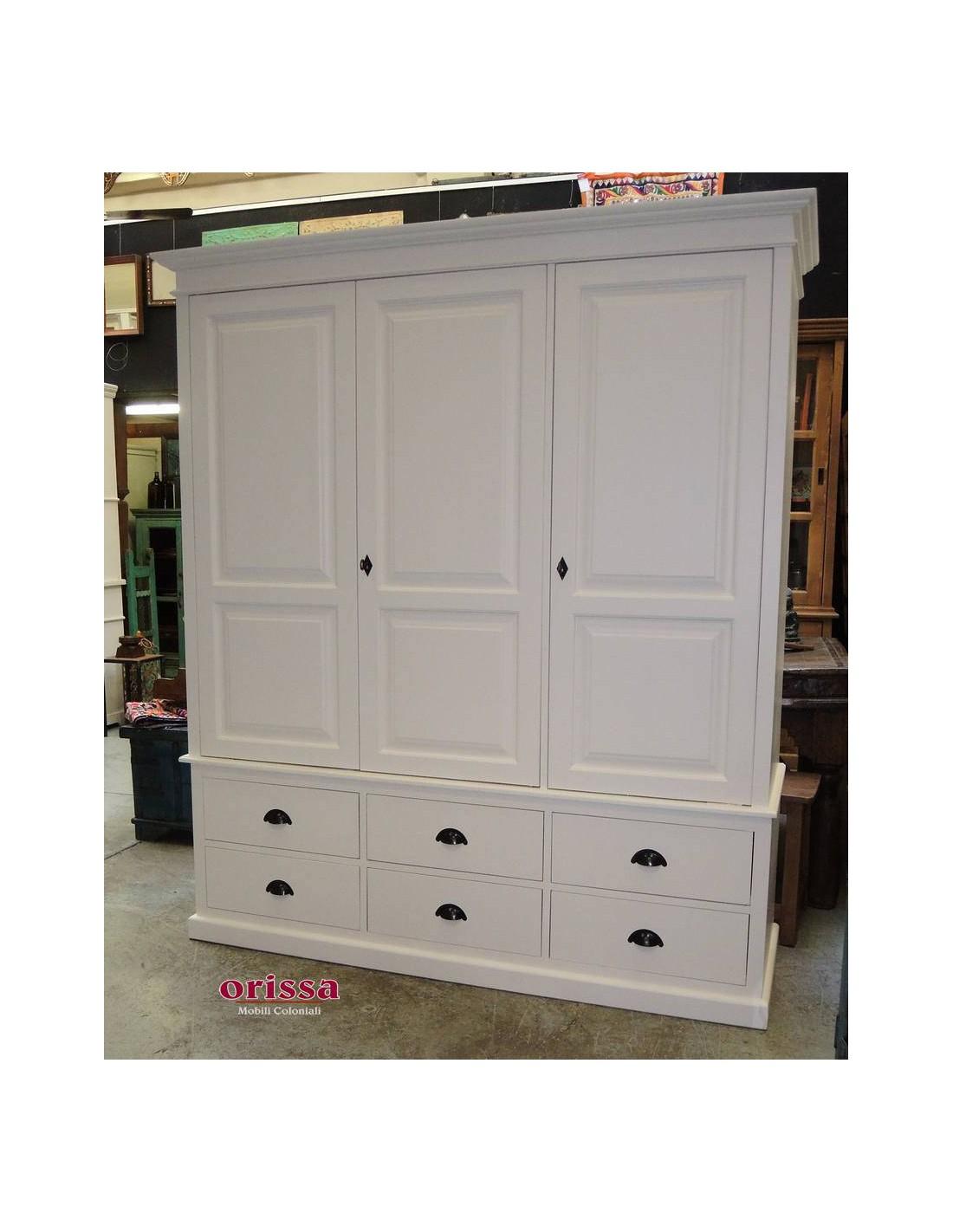 Armadio con cassetti legno massello bianco oms363 orissa for Armadio bagno bianco