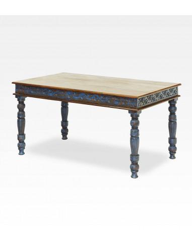 Tavolo indiano intagliato colore blu