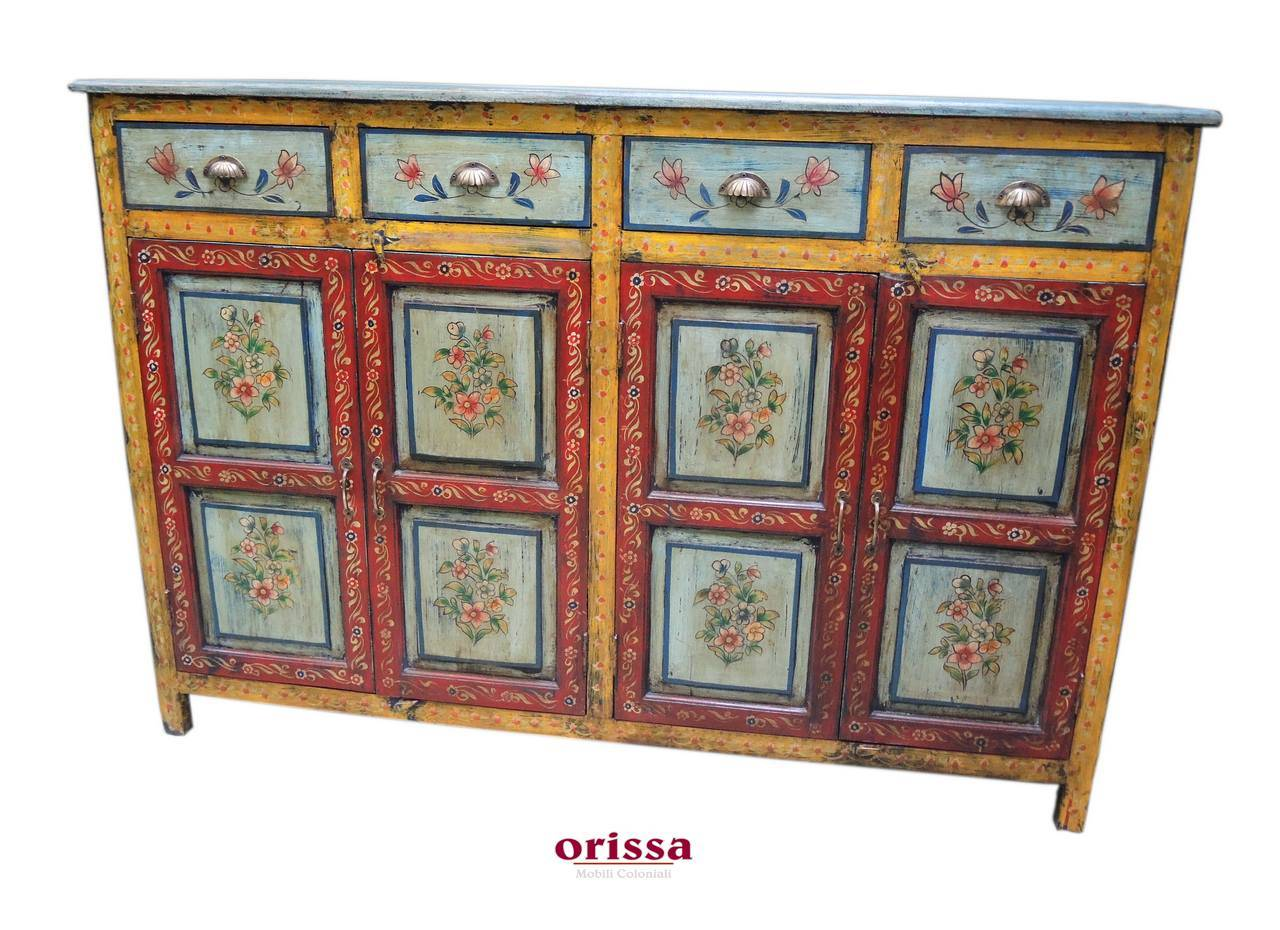 Credenza Con Vetrina Etnica : Credenza etnica decorata in legno massello r orissa milano