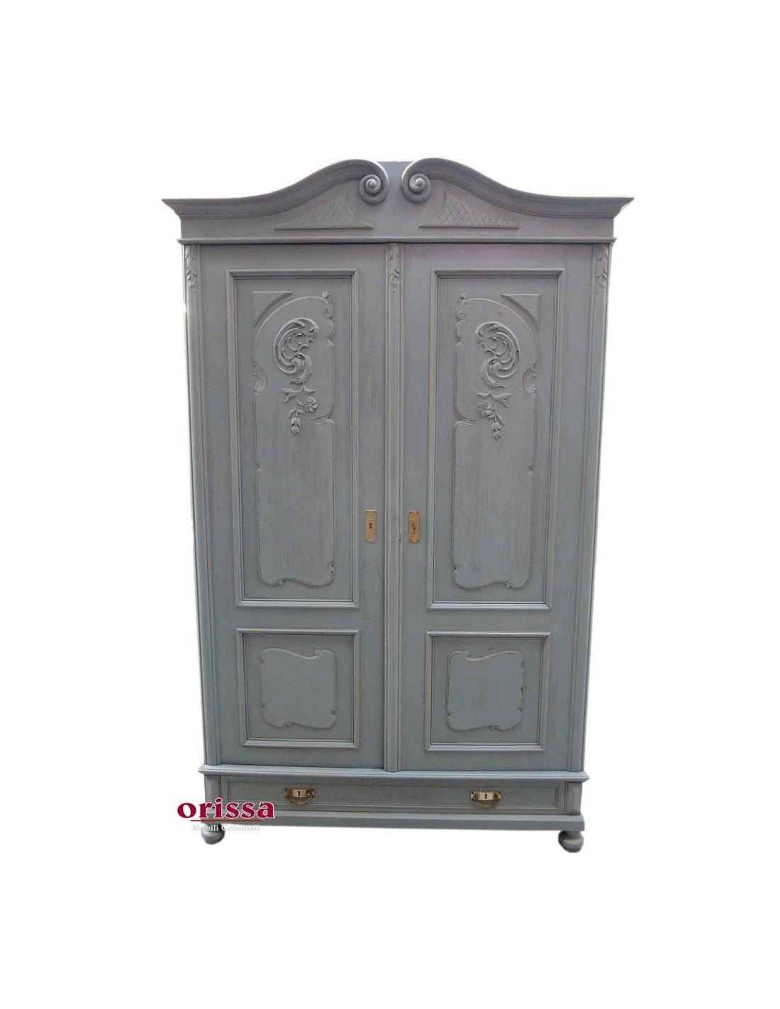 armadio shabby a due ante colore grigio UN011 - Orissa ...