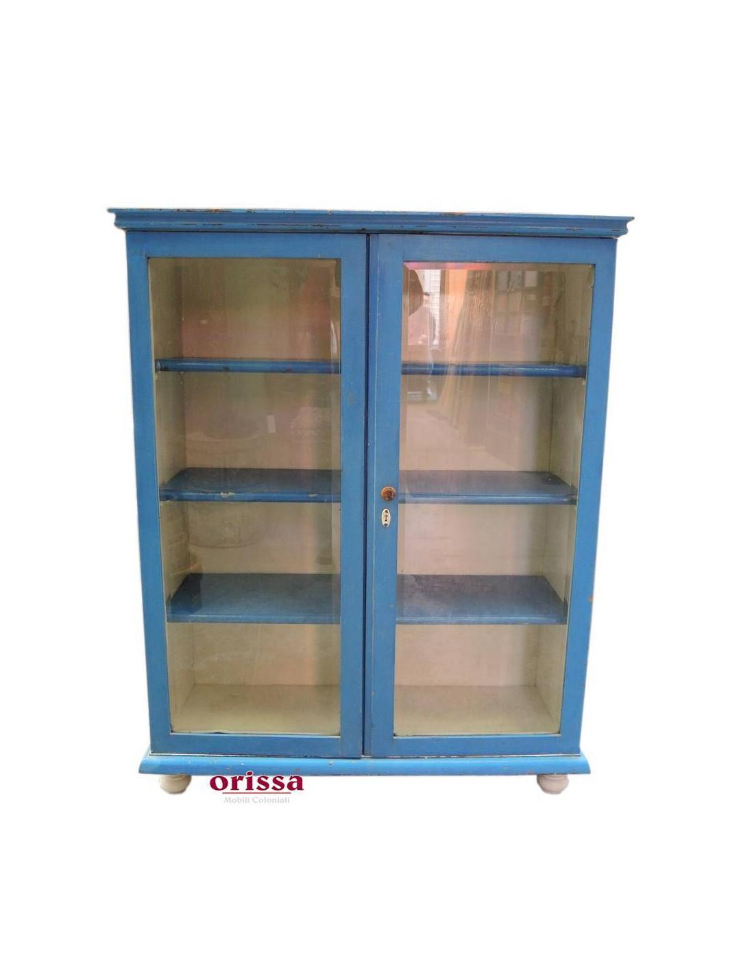 Vetrina Azzurra In Legno Massello Un040 Orissa Mobili Coloniali