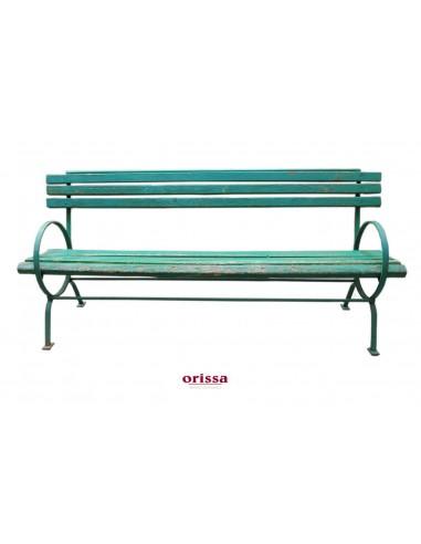 Panchina verde ferro legno