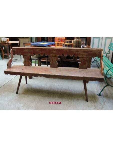 Panchina rossa legno shabby