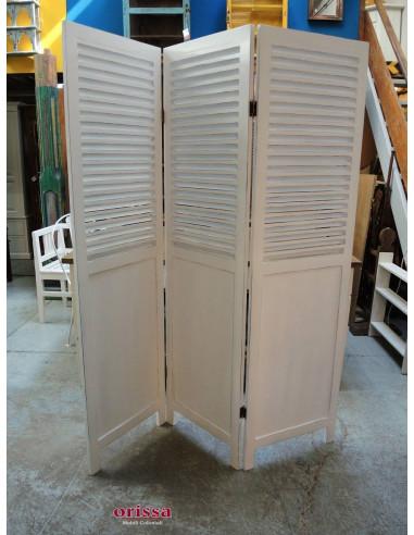 Paravento separé in legno massello colore bianco sxG12 - Orissa Milano