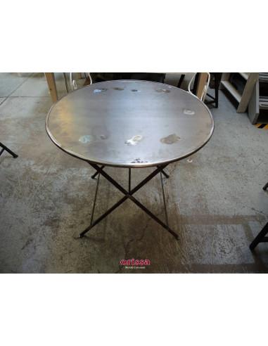 Tavolo rotondo pieghevole in ferro