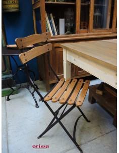 Sedia pieghevole ferro e legno