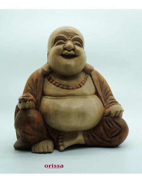 Statua Buddha felice il legno H30cm
