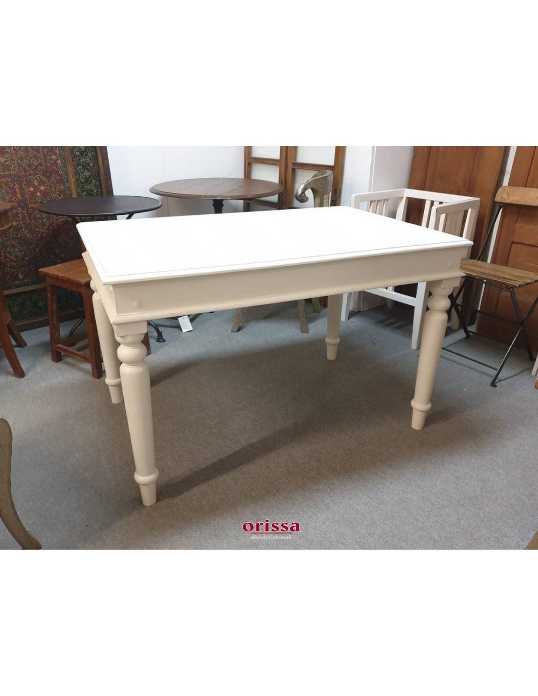 Tavolo Bianco In Legno tavolo takat indiano bianco decapato or044b-120 - orissa mobili coloniali