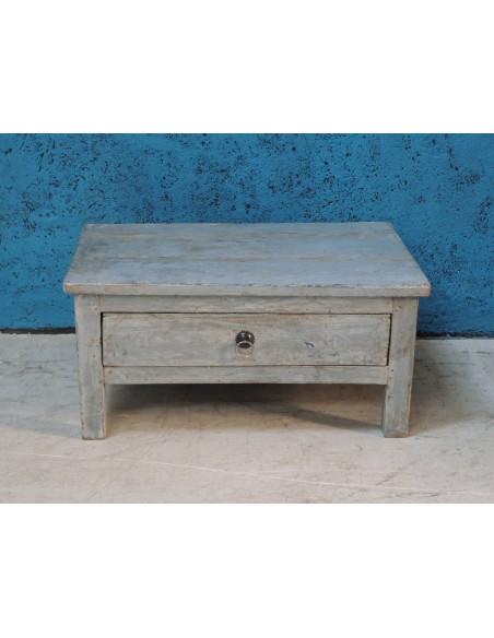 Tavolino shabby blu con cassetto