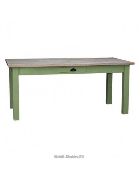 Tavolo con cassetto provenzale colorato 160cm