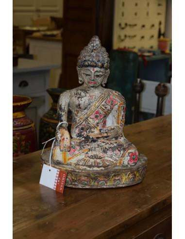 Statua Buddha seduto in legno