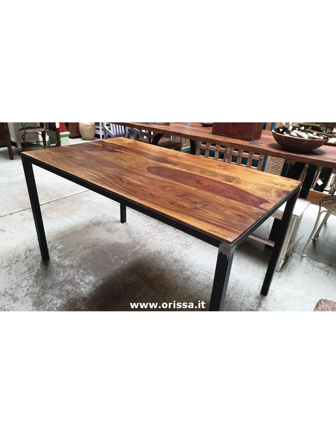 Tavolo Industrial Con Top In Legno Massello Cx131 Orissa Mobili Coloniali