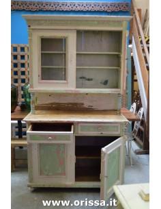 Imagén: Credenza vintage legno massello rosa e verde