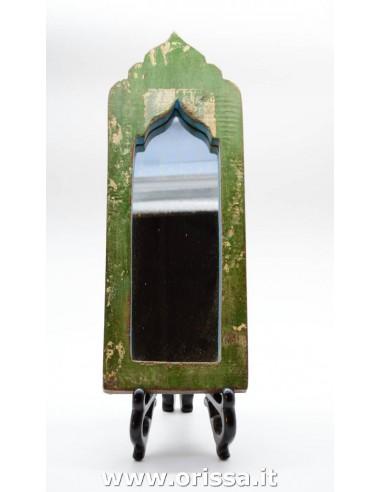 Specchio con cornice legno verde